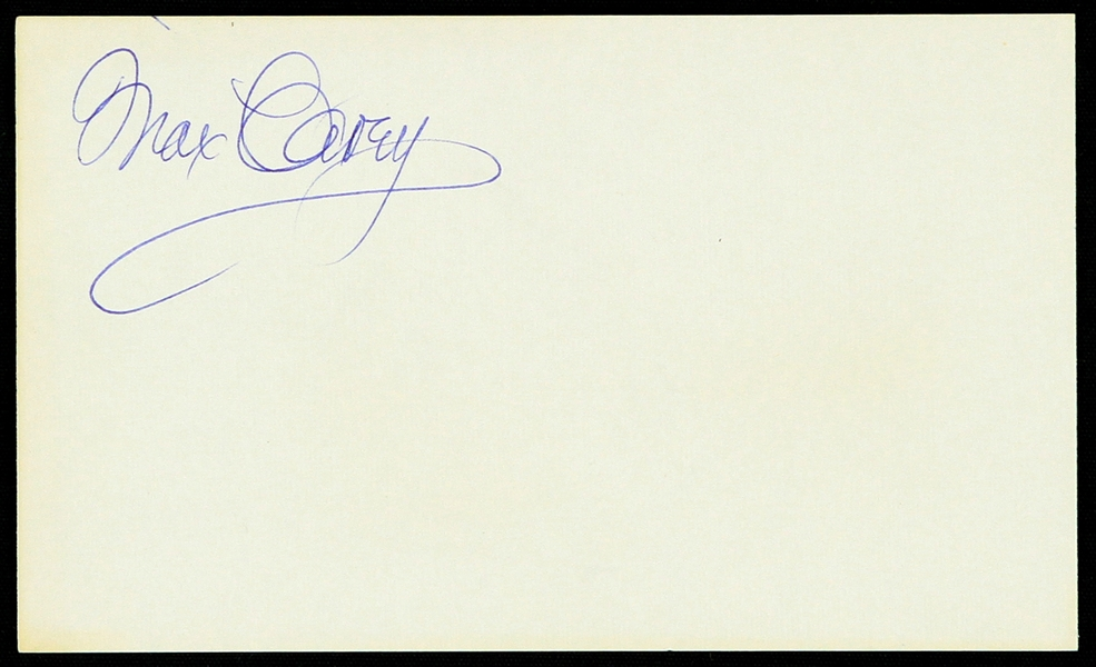 "1950s Max Carey Pittsburgh Pirates Signed 3"" x 5"" Index Card (JSA)"