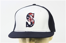 2011 (July 4) Blake Beavan Seattle Mariners Game Worn & Stripes Cap (MEARS LOA/MLB Hologram)