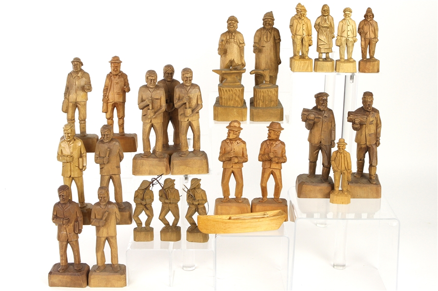 1940s-50s RA Struck Carved Wooden Figure Collection (Lot of 25+)