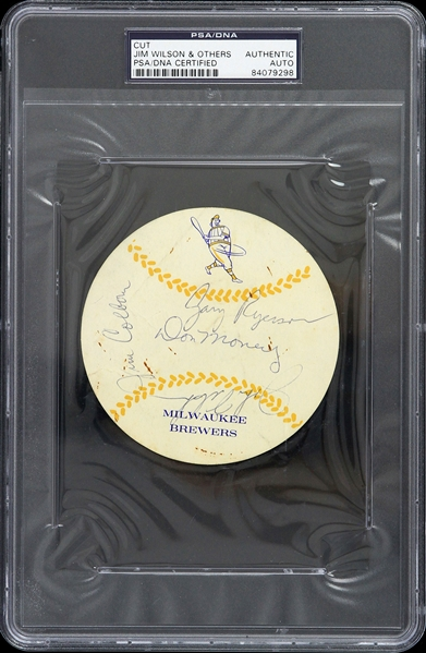 "1951-1954 Jim Wilson Milwaukee Brewers Signed 4"" Cut (PSA/DNA Slabbed)"