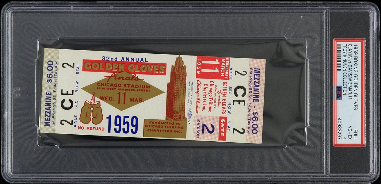 1959 Cassius Clay vs Jeff Davis Golden Gloves Finals Full Ticket (PSA VG-EX 4 Slabbed)