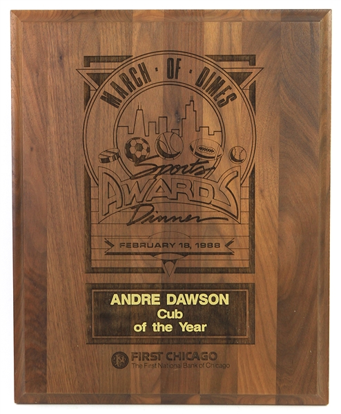 "1988 Andre Dawson Chicago Cubs March of Dimes ""Cub of the Year"" 12"" x 15"" Plaque"