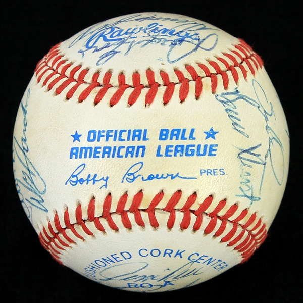 1988 Boston Red Sox Team Signed OAL Brown Baseball w/ 20 Signatures Including Roger Clemens, Wade Boggs, Jim Rice, Lee Smith & More (JSA)