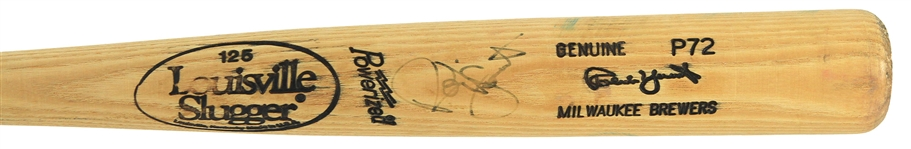 1991-93 Robin Yount Milwaukee Brewers Signed Louisville Slugger Professional Model Game Used Bat (MEARS A7/JSA)