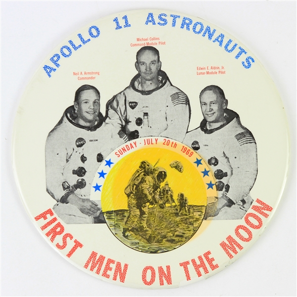 "1969 Apollo 11 Astronauts ""First Men on the Moon"" 9"" Pinback Button"