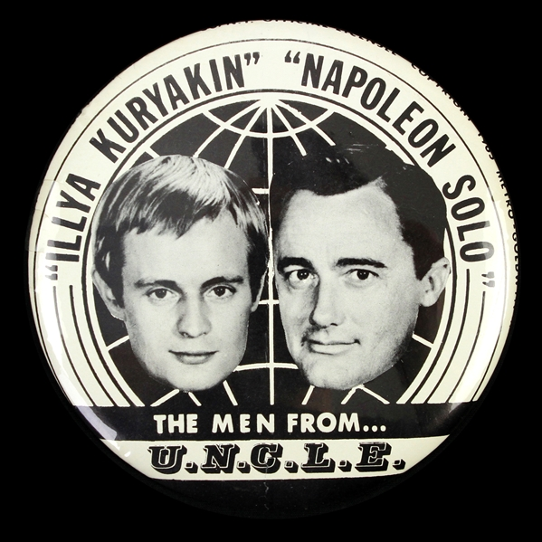 "1965 The Men From U.N.C.L.E. ""Illya Kuryakin Napoleon Solo"" 6"" Pinback Button"