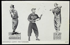 "1940-50s Indianapolis Clowns Negro American League ""Juggling Taylor"" & ""King Tut"" Postcard"