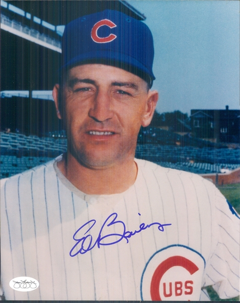 "1965 Ed Bailey Chicago Cubs Signed 8"" x 10"" Photo (*JSA*)"