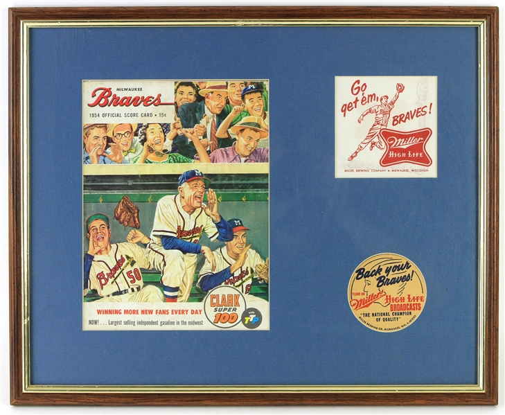 "1954 Milwaukee Braves Official Score Card 17""x 21"" Framed"