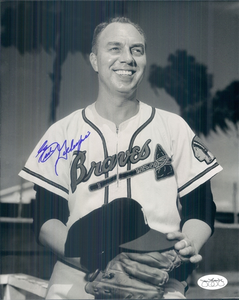 "1953-63 Earl Gillespie Milwaukee Braves Signed 8"" x 10"" Photo (*JSA*)"