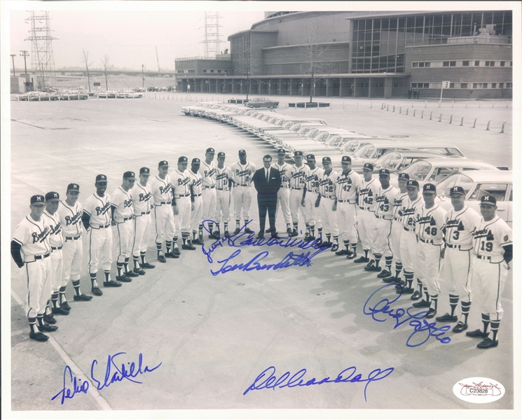 "1958 Del Crandall Lou Burdette Andy Pafko Felix Mantilla Juan Pizarro Carlton Willey Milwaukee Braves Signed 8"" x 10"" Photo (*JSA*)"