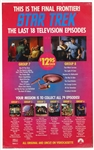 "1988 Star Trek ""The Last 18 Television Episodes"" on VHS 25""x 38"" Poster"