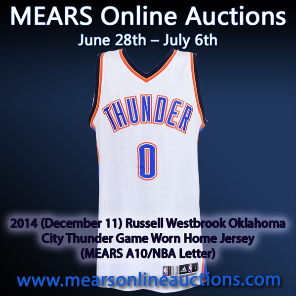 2014 (December 11) Russell Westbrook Oklahoma City Thunder Game Worn Home Jersey (MEARS A10/NBA Letter)