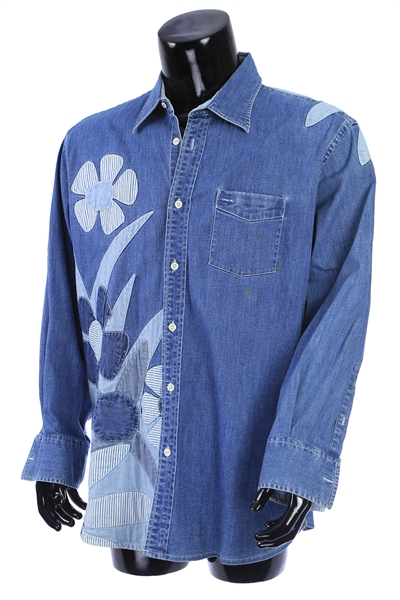 2000s William Shatner Worn Faconnable Long Sleeve Button Up Patterned Denim Shirt (Shatner LOA/MEARS LOA)