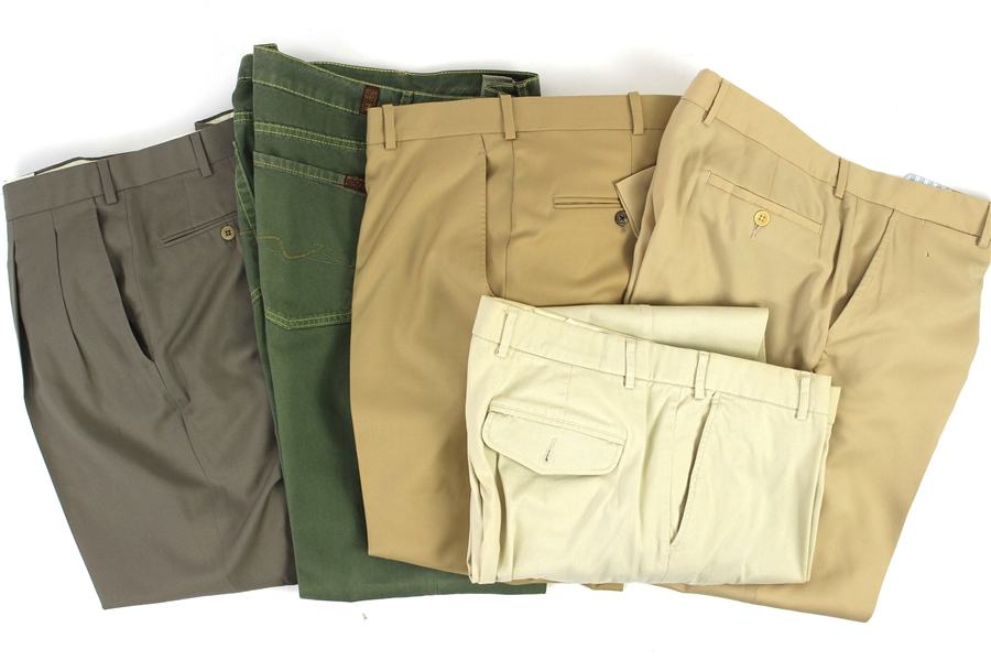 2000s William Shatner Worn Suit & Khaki Pants Collection - Lot of 5 w/ Carroll & Co., Orvis, Royal Classic, For All Mankind & Ermenegildo Zegna (Shatner LOA/MEARS LOA)