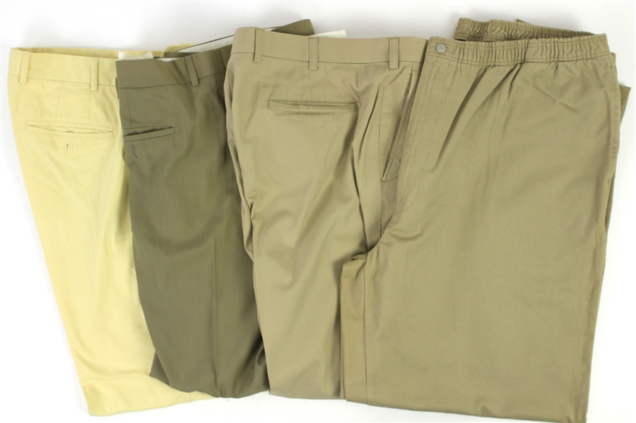 2000s William Shatner Worn Khaki & Suit Pants Collection - Lot of 4 w/ Willis & Geiger, Bobby Jones, Protagonist & Faconnable (Shatner LOA/MEARS LOA)