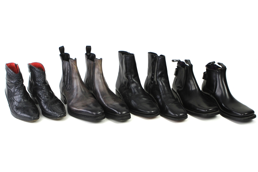 2000s William Shatner Worn Leather Ankle Boots Collection - Lot of 4 Pairs w/ Santoni, Florsheim, Jean Baptiste Rautureau & Foti Alligator (Shatner LOA/MEARS LOA)