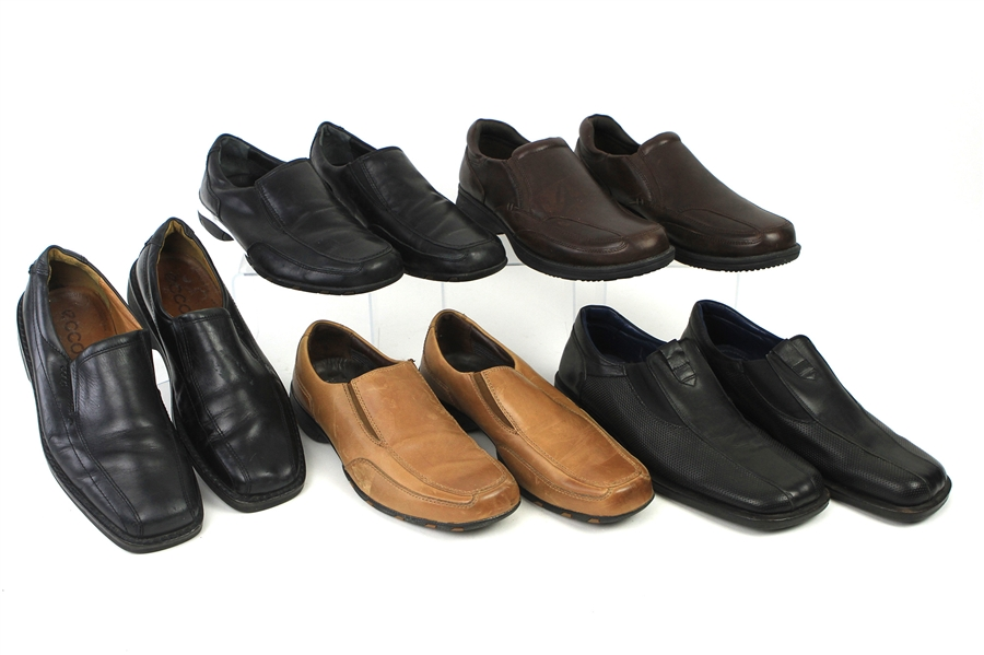 2000s William Shatner Worn Leather Loafer Collection - Lot of 5 Pairs w/ Bacco Bucci, George Foreman, Auri & Ecco (Shatner LOA/MEARS LOA)