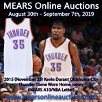 2015 (November 25) Kevin Durant Oklahoma City Thunder Game Worn Home Jersey (MEARS A10/NBA Letter)