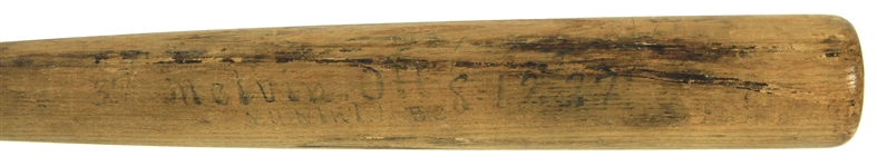 1927 Mel Ott New York Giants H&B Louisville Slugger Sidewritten Lathe Bat (MEARS A10)