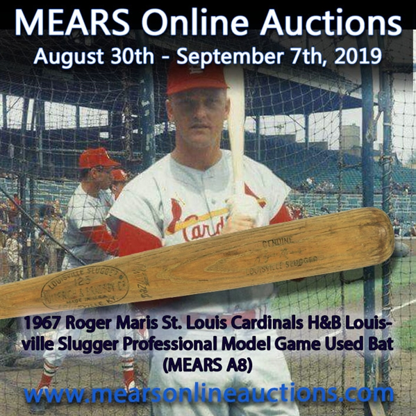 1967 Roger Maris St. Louis Cardinals H&B Louisville Slugger Professional Model Game Used Bat (MEARS A8)