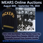 1944-1945 Bob Kahler / Russ Mosley Green Bay Packers Game Worn Sweater (MEARS LOA) Originally Sourced From Dominic Gentile