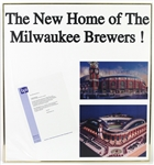 "1990s Miller Park ""New Home of the Milwaukee Brewers"" 26""x 28"" Framed Advertisement"