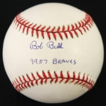 "1995-99 Bob Buhl Milwaukee Braves Signed & Inscribed ""1957 Braves"" ONL Coleman Baseball (*JSA*)"