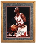 "1990s Michael Jordan Chicago Bulls Secretarial Signed 23"" x 27"" Framed Photo"