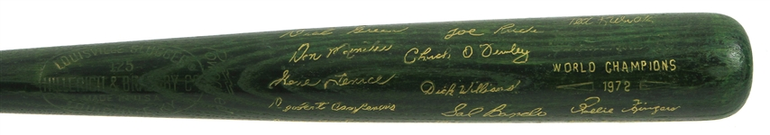 1972 Oakland Athletics H&B Louisville Slugger World Series Champions Green Commemorative Bat (MEARS LOA)