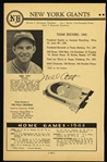 1944 Mel Ott New York Giants Signed Program Page (*Full JSA Letter*)