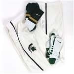 2014-16 Denzel Valentine Michigan State Spartans Signed Game Worn Warm Up Pants & Socks - Lot of 3 (MEARS LOA/JSA)