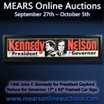 "1960 John F. Kennedy for President Gaylord Nelson for Governor 17"" x 65"" Framed Car Sign"