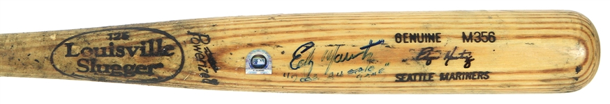 2003 Edgar Martinez Seattle Mariners Signed & Inscribed Louisville Slugger Professional Model Game Used Bat (MEARS A10/JSA/MLB Hologram)