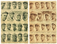 "1919 Chicago Cubs Cincinnati Reds Morris Supreme 9.5"" x 15"" Team Photo Pages - Lot of 2"
