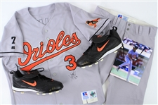 1998-99 Harold Baines Baltimore Orioles Signed Game Worn Road Uniform w/ Jersey, Pants & Cleats (MEARS A10/JSA)