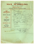 1932 Max Schmeling Trains with Mickey Walker Training Schedule Letterhead