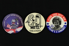 "1970s-80s 3.5"" Pinback Button Collection - Lot of 3 w/ Go Mets!, Edith Bunker & Vote Kermit The Frog"
