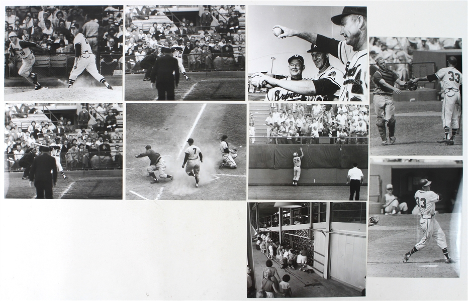 "1953-65 Milwaukee Braves 8"" x 10"" Black & White Photo Collection - Lot of 9 w/ Warren Spahn, Lew Burdette, Lee Maye & More"