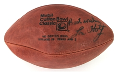 1993 Lou Holtz Notre Dame Fighting Irish Signed Mobile Cotton Bowl Classic Football (JSA)