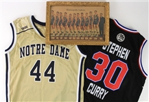"1949-2015 Basketball Memorabilia Collection - Lot of 3 w/ 11"" x 16"" Framed 1949 Minneapolis Lakers Team Photo, Steph Curry All Star Jersey & More"