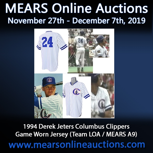 1994 Derek Jeter Columbus Clippers Game Worn Home Jersey (MEARS A9/Team Letter)