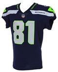 2018 (October 7) Nick Vannett Seattle Seahawks Game Worn Home Jersey (MEARS A10/Team COA)