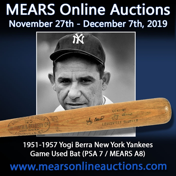 1951-57 Yogi Berra New York Yankees Signed H&B Louisville Slugger Professional Model Game Used Bat (MEARS A8 & PSA/DNA GU7 & JSA)