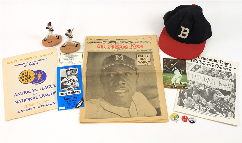 1960s-90s Baseball Memorabilia Collection - Lot of 11 w/ Hank Aaron, Pinback Buttons, Boston Braves Cap & More
