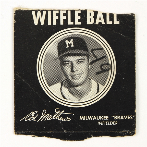 1950s Eddie Mathews Milwaukee Braves Wiffle Ball Box Panel