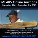 "1965 Willie Mays San Francisco Giants H&B Louisville Slugger Professional Model Game Used Bat (MEARS A8) ""Gifted by Mays to Union Boss"""