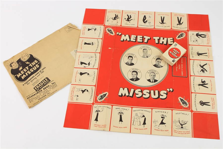1937 Meet The Missus Fitzpatrick Bros. Board Game Premium w/ Game Board, Playing Cards & Original Mailing Envelope