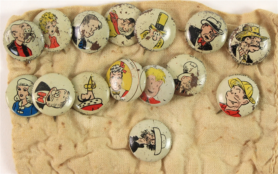 "1940s Kelloggs Pep 3/4"" Pinback Buttons - Lot of 15"