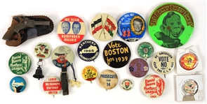 1930s-70s American Pinback Button Collection - Lot of 20 w/ Woodstock, Daniel Boone, Davy Crockett, Political & More